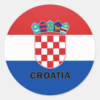 Bandera de la calidad de Croacia Roundel Pegatina Redonda