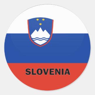 Bandera de la calidad de Eslovenia Roundel Pegatina Redonda