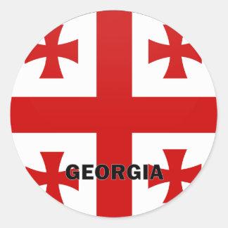 Bandera de la calidad de Georgia Roundel Pegatina Redonda