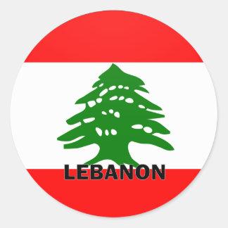 Bandera de la calidad de Líbano Roundel Pegatina Redonda