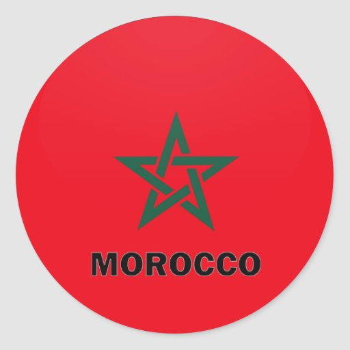 Bandera de la calidad de Marruecos Roundel Pegatina Redonda