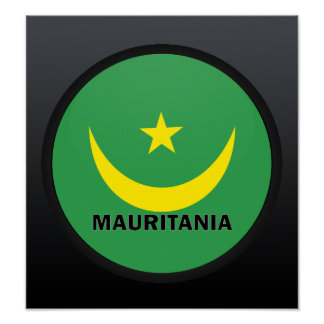 Bandera de la calidad de Mauritania Roundel Poster