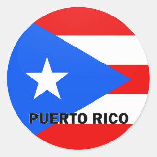 Bandera de la calidad de Puerto Rico Roundel Pegatina Redonda