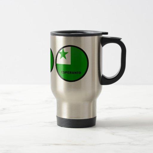 Bandera de la calidad de Roundel del esperanto Taza De Viaje De Acero Inoxidable
