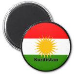 Bandera de la calidad de Roundel del Kurdistan Imán Redondo 5 Cm