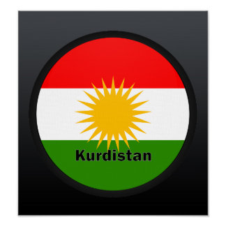 Bandera de la calidad de Roundel del Kurdistan Poster