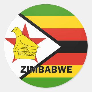 Bandera de la calidad de Zimbabwe Roundel Pegatina Redonda