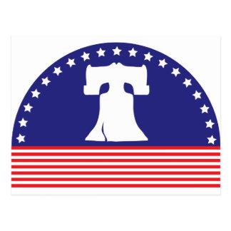 bandera de la campana de libertad tarjeta postal