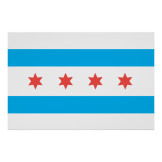 Bandera de la ciudad de Chicago Póster