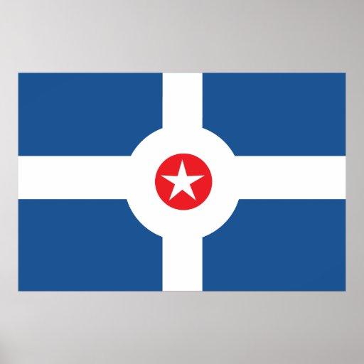 Bandera de la ciudad de Indianapolis Póster