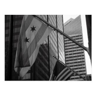 Bandera de la ciudad de los E.E.U.U. y de Chicago Postales