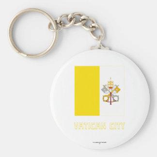 Bandera de la Ciudad del Vaticano con nombre Llavero Redondo Tipo Pin