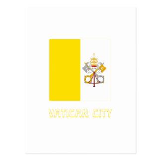 Bandera de la Ciudad del Vaticano con nombre Tarjetas Postales