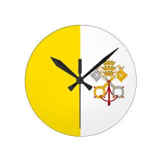 Bandera de la Ciudad del Vaticano Reloj De Pared