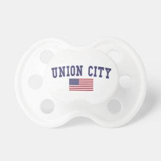 Bandera de la ciudad NJ los E.E.U.U. de la unión Chupete De Bebe