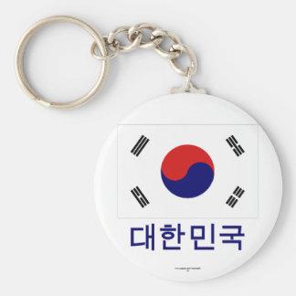 Bandera de la Corea del Sur con nombre en coreano Llavero Redondo Tipo Pin