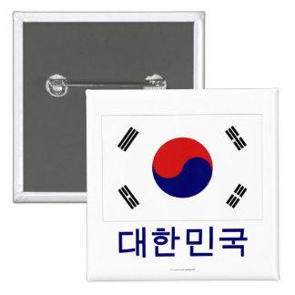 Bandera de la Corea del Sur con nombre en coreano Pins