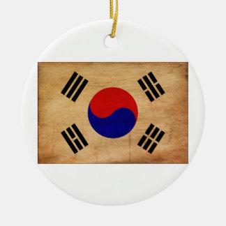Bandera de la Corea del Sur Adorno Redondo De Cerámica