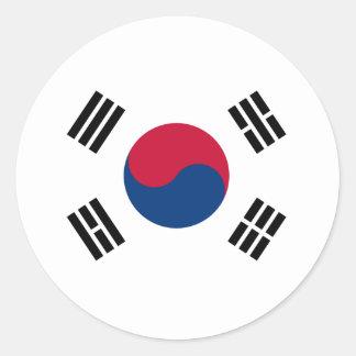 Bandera de la Corea del Sur Pegatina Redonda