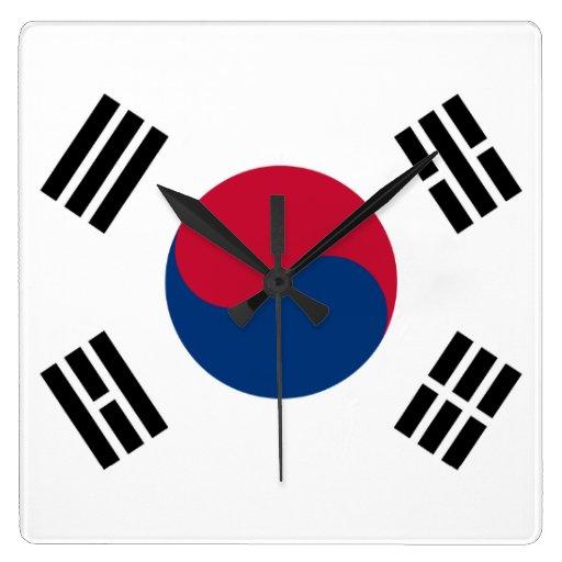 Bandera de la Corea del Sur Reloj Cuadrado