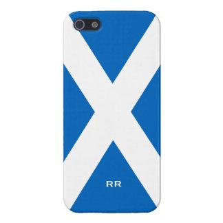 Bandera de la cruz blanca de Escocia en la caja az iPhone 5 Cárcasa