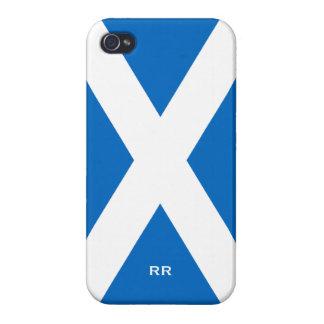 Bandera de la cruz blanca de Escocia en la caja az iPhone 4 Cárcasa