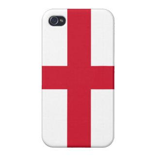 Bandera de la cruz de Inglaterra en la caja blanca iPhone 4 Fundas