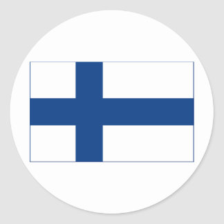 Bandera de la cruz nórdica azul de Finlandia en el Etiqueta Redonda