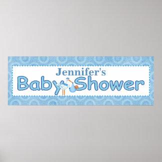 Bandera de la ducha del bebé de la cigüeña póster