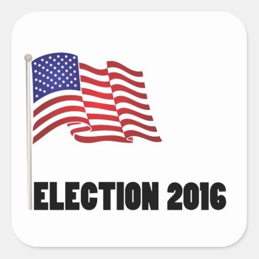 Bandera de la elección 2016 calcomania cuadradas personalizada