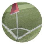 Bandera de la esquina roja en campo de fútbol platos