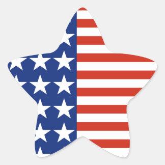 Bandera de la estrella de las barras y estrellas pegatina en forma de estrella