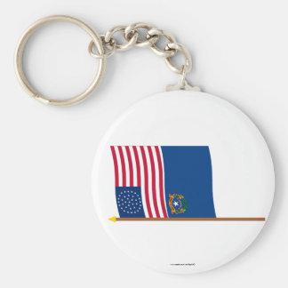 Bandera de la estrella de los E E U U 36 en polo Llavero