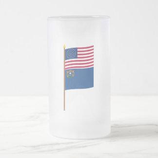 Bandera de la estrella de los E E U U 36 en polo Tazas