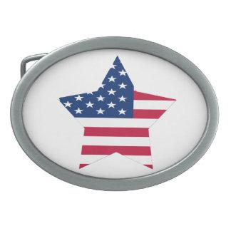 Bandera de la estrella de los E.E.U.U. Hebillas De Cinturón Ovales