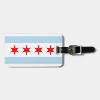Bandera de la etiqueta del equipaje de Chicago con Etiquetas Para Maletas