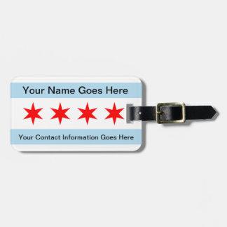 Bandera de la etiqueta del equipaje de Chicago con Etiquetas Bolsa