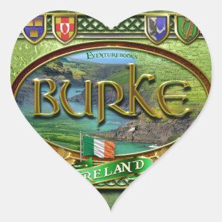 Bandera de la familia de Burke Pegatina En Forma De Corazón