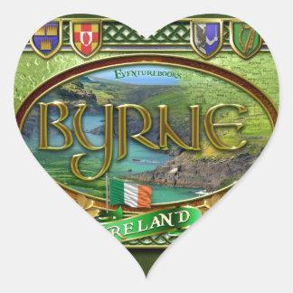 Bandera de la familia de Byrne Pegatina En Forma De Corazón
