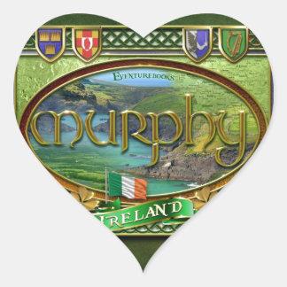 Bandera de la familia de Murphy Pegatina En Forma De Corazón