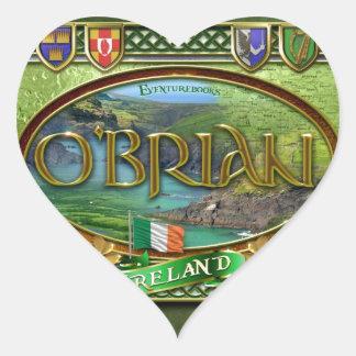 Bandera de la familia de O'Brian Pegatina En Forma De Corazón