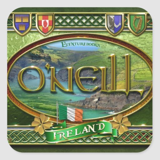 Bandera de la familia de O'Neill Pegatina Cuadrada