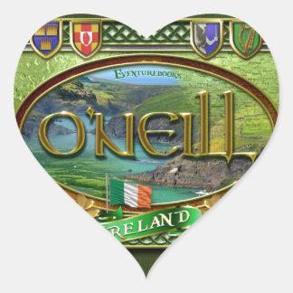 Bandera de la familia de O'Neill Pegatina En Forma De Corazón
