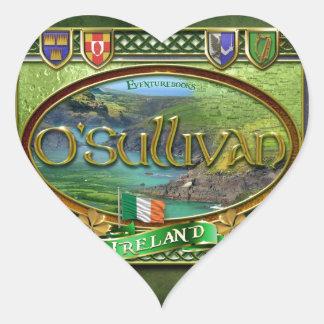 Bandera de la familia de O'Sullivan Pegatina En Forma De Corazón