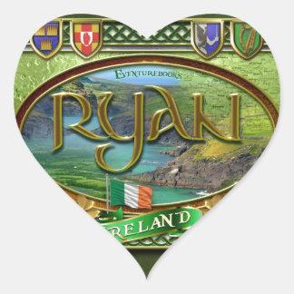 Bandera de la familia de Ryan Pegatina En Forma De Corazón