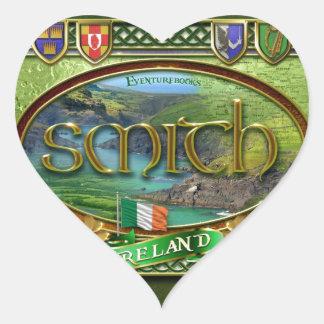 Bandera de la familia de Smith Pegatina En Forma De Corazón