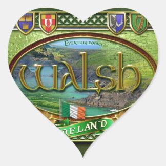 Bandera de la familia de Walsh Pegatina En Forma De Corazón