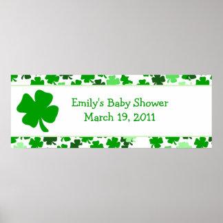 Bandera de la fiesta de bienvenida al bebé/cumplea póster