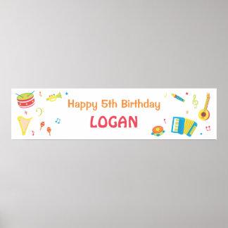 Bandera de la fiesta de cumpleaños de los niños de póster
