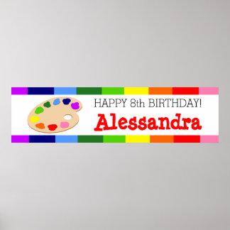 Bandera de la fiesta de cumpleaños del arte de la impresiones
